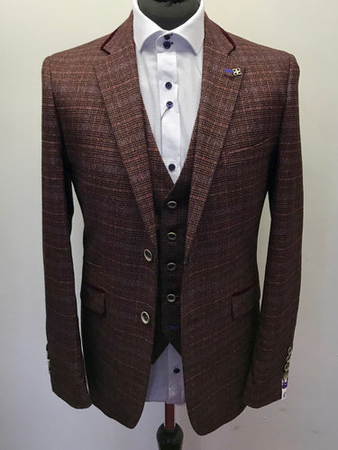 Cavani Carly Wine Tweed Checked Jacket