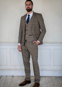 Marc Darcy Ted Tan Tweed 3-Piece Suit