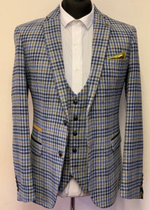 Marc Darcy Watson Blue Tweed Checked Jacket