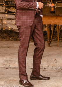 Cavani Carly Wine Tweed Trousers