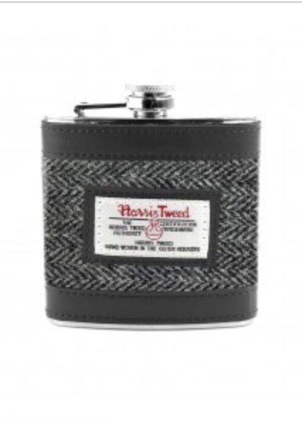 Harris Tweed Grey Herringbone Hip Flask