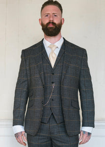 Skopes Leahy Brown Checked Jacket Waistcoat