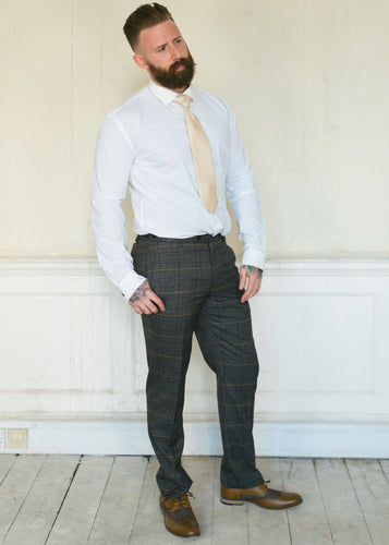 Skopes Leahy Brown Checked Trousers