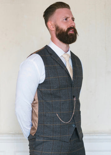 Skopes Leahy Brown Checked Waistcoat