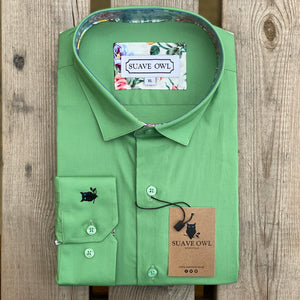 Suave Owl Plain Green Shirt with Floral Contrast Detail.