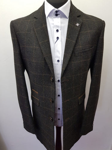 Cavani Kemson Charcoal Tweed Overcoat