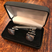 Rhodium Cufflink & Tie Bar Set Diagonal Brushed