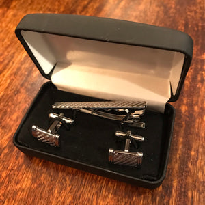 Rhodium Cufflink & Tie Bar Set Diagonal Rope Effect