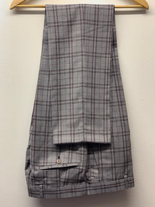 Robert Simon Grey Windowpane Check Trousers