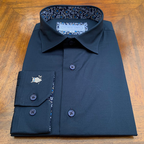 SUAVE OWL Navy Shirt Tan/White Contrast