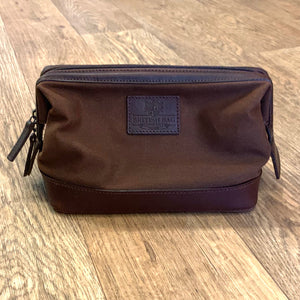 Navigator Brown Waxed Canvas Wash Bag