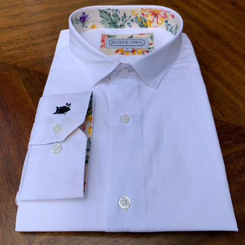 SUAVE OWL Plain White Shirt