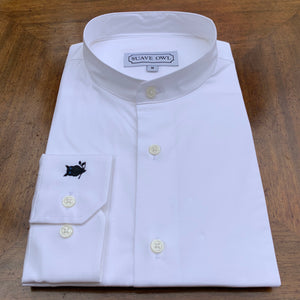 SUAVE OWL Grandad Collar White Button Shirt