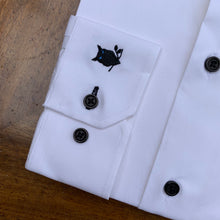 Load image into Gallery viewer, SUAVE OWL Grandad Collar Black Button Shirt
