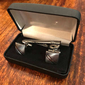Rhodium Cufflink & Tie Bar Set Diagonal Shiny Stripe