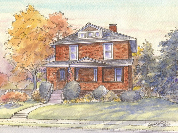 Chicago Craftsman Style House Portrait in Park Ridge IL