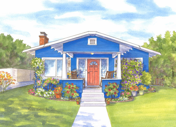 Vibrant summer bungalow portrait in San Diego, CA