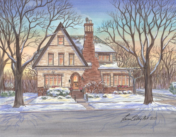 Tudor House Portrait in the snow, Beverly neighborhood, Chicago IL