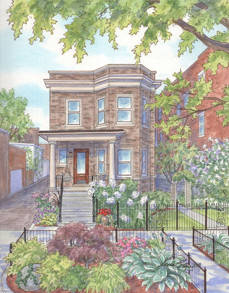 Edwardian in Lincoln Park, Chicago with vibrant garden color