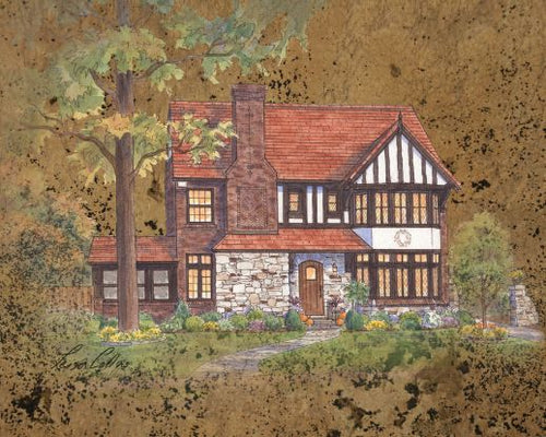 leisa-collins-art-shop - English Tudor on Leather Collage - Collage