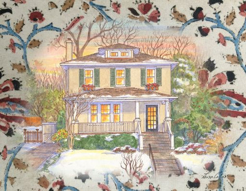 leisa-collins-art-shop - Craftsman Home on Cotton Collage - Collage