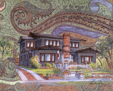 leisa-collins-art-shop - Craftsman Home on Handwoven Backdrop Collage - Collage