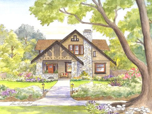 leisa-collins-art-shop - Quintessential Craftsman Home - Pen and watercolor
