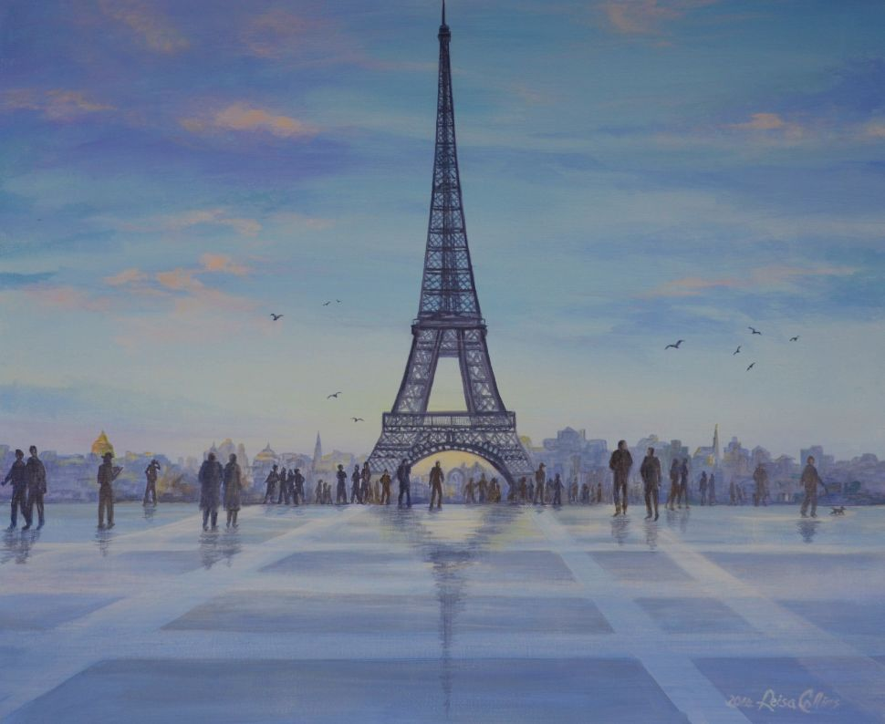 leisa-collins-art-shop - Rainy Day at Eiffel Tower - Acrylic on canvas
