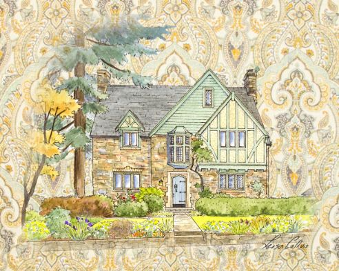 leisa-collins-art-shop - Country Tudor Manor Collage - Collage