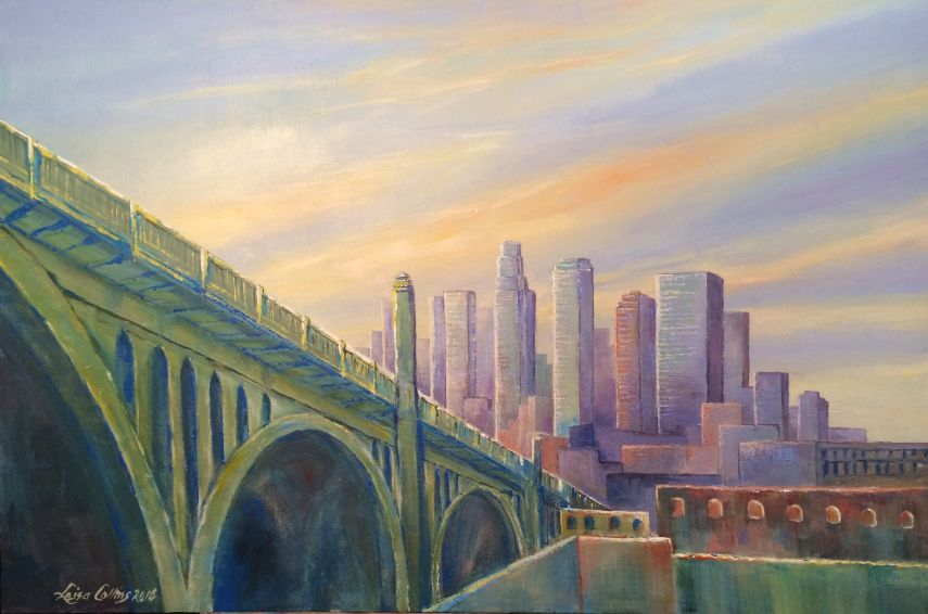 leisa-collins-art-shop - Downtown Los Angeles Cityscape at Dawn - Acrylic on canvas