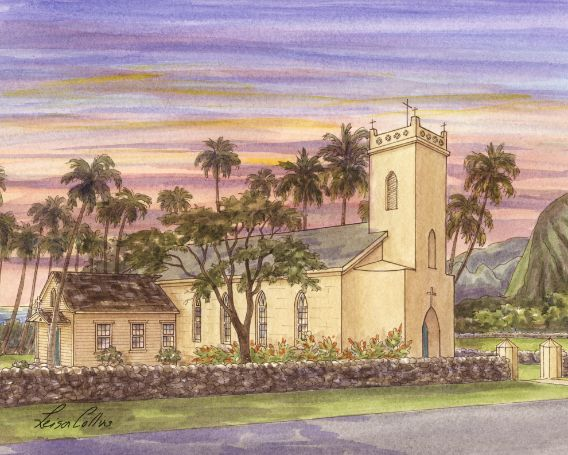 leisa-collins-art-shop - Philomena Catholic Chuch, Hawaii - Pen and watercolor