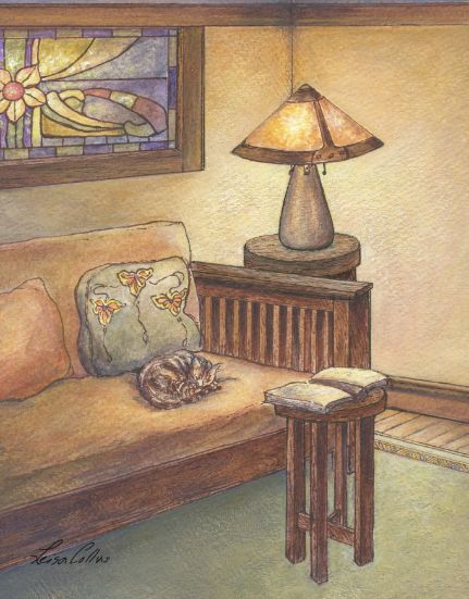 leisa-collins-art-shop - Craftsman Living Room with Cat - Pen and watercolor