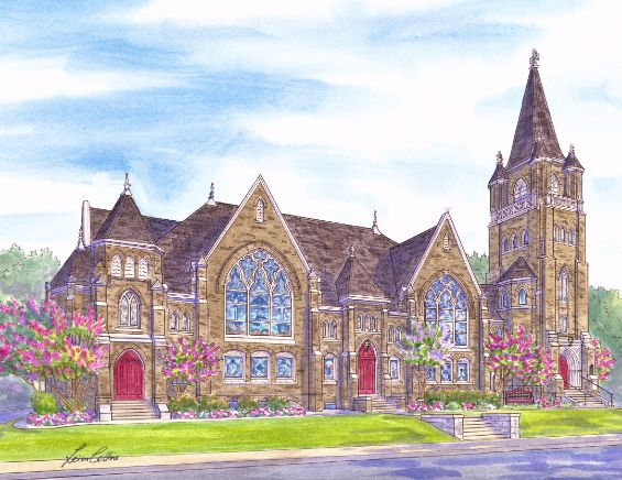 leisa-collins-art-shop - Grace United Church, Dallas TX - Pen and watercolor