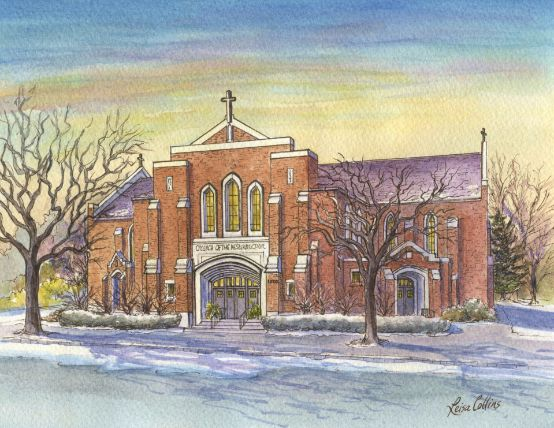 leisa-collins-art-shop - Resurrection Church, Lansing, MI - Pen and watercolor
