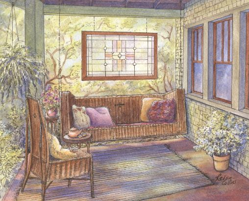 leisa-collins-art-shop - Tea Time on the Porch - Pen and watercolor