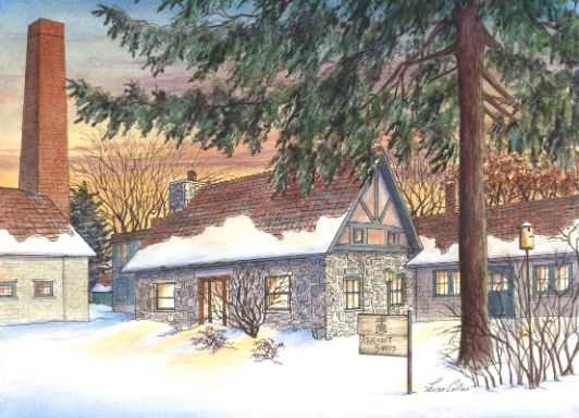 leisa-collins-art-shop - Roycroff Campus in the Snow, New York - Pen and watercolor