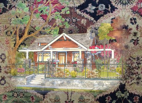 leisa-collins-art-shop - Craftsman Home Portrait Tapestry Collage - Collage