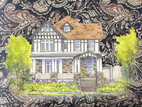 leisa-collins-art-shop - Time Honored Tudor Home on Silk Collage - Collage