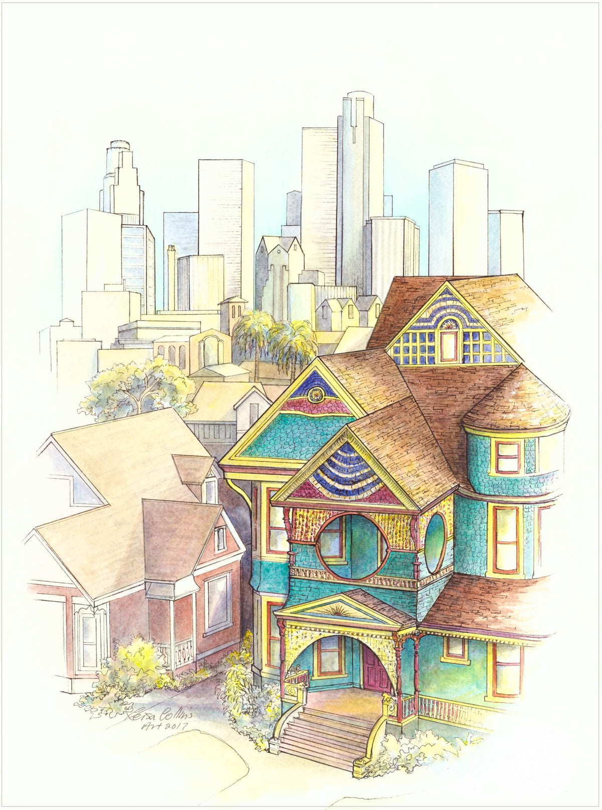 leisa-collins-art-shop - Los Angeles Cityscape Old and New - Pen and watercolor