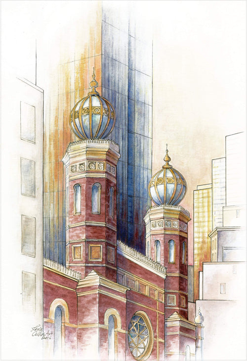 leisa-collins-art-shop - New York City Scene Old and New - Mixed media