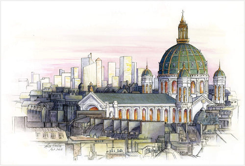 leisa-collins-art-shop - Paris City Scene Old and New - Pen and watercolor