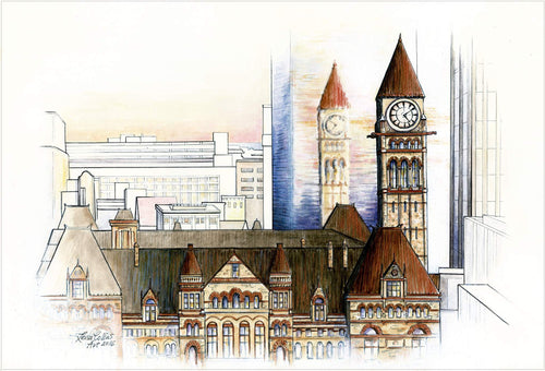 leisa-collins-art-shop - Toronto City Scene  Old and New - Pen and watercolor