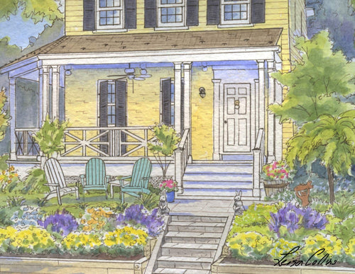 leisa-collins-art-shop - Sunny Porch - Mixed media