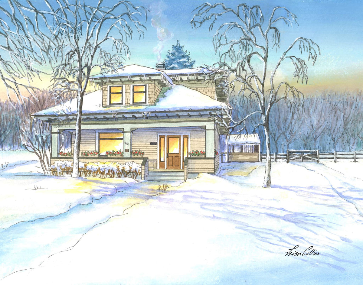leisa-collins-art-shop - Country Farmhouse in the Snow - Pen and watercolor