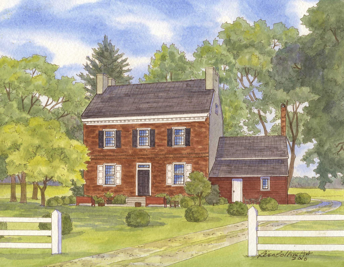 leisa-collins-art-shop - Country Home in Delaware - Pen and watercolor