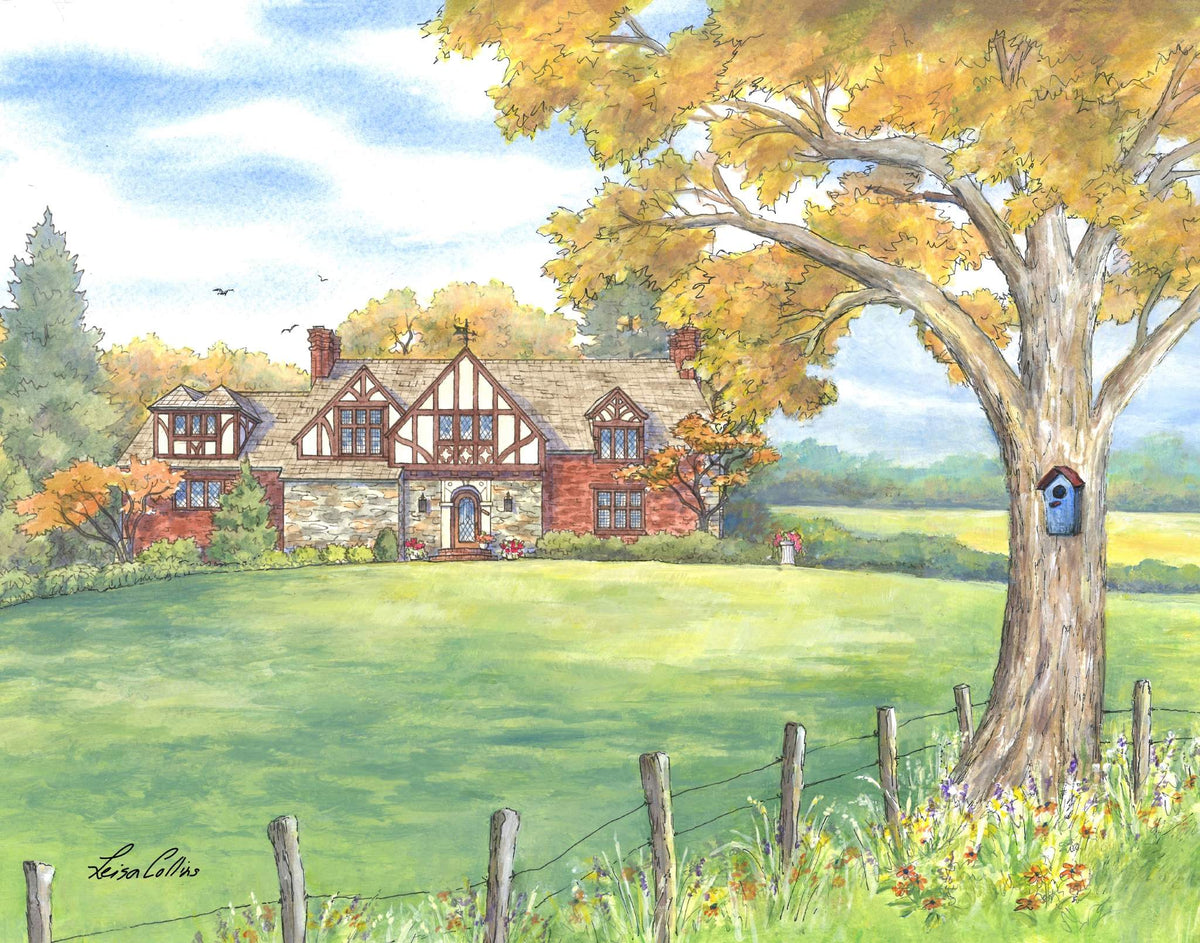 leisa-collins-art-shop - Country Homestead in the Fall - Pen and watercolor