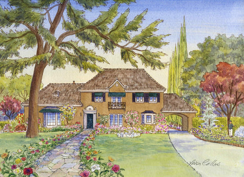 leisa-collins-art-shop - Country Manor Rose Garden - Pen and watercolor