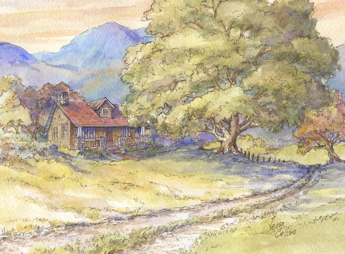 leisa-collins-art-shop - Old Farmhouse and the Mighty Oak - Pen and watercolor