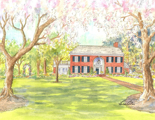 leisa-collins-art-shop - Spring Arrives at the Country Manor - Pen and watercolor