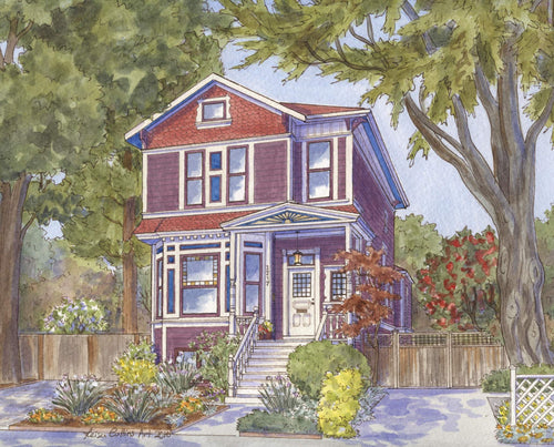 leisa-collins-art-shop - Alameda CA Victorian Home - Pen and watercolor
